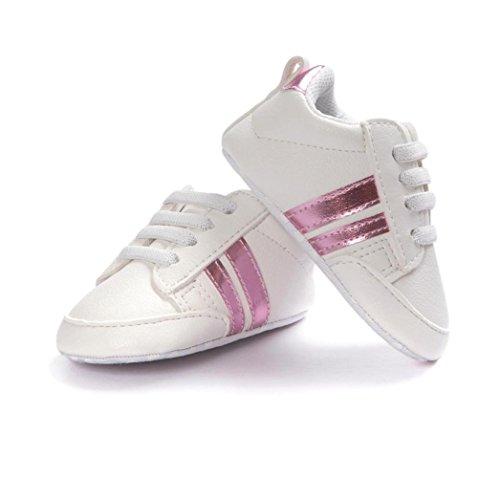 Jamicy Baby Schuhe Soft Bottom Anti-Rutsch Leder Sport Schuh für Kleinkind Kleinkind Jungen (0-6 Monat, Rosa) Monat Onesies