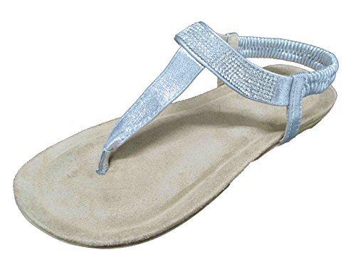 OOG Damen Zehentrenner Sandale Strass Glitzer Metallic offener Sommer Schuhe Silber 39 - Damen-strass-comfort-clogs