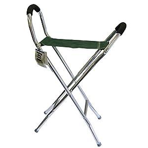 41eRaJ6KiqL. SS300  - Leisurewize Walking Stick Folding Stool & Chair, Lightweight Alloy Frame