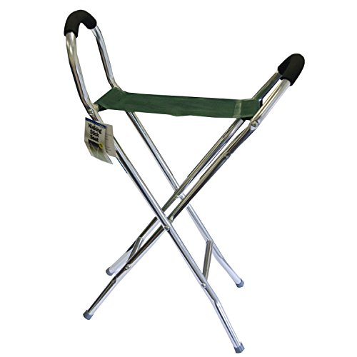 Leisurewize Walking Stick Folding Stool & Chair, Lightweight Alloy Frame