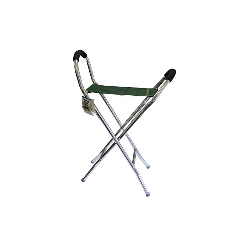 Leisurewize Walking Stick Folding Stool & Chair, Lightweight Alloy Frame