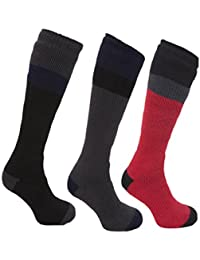 B.U.L ® Mens Soft Thermal Padded Long Ski Socks 2 Pairs Ideal for Hiking Walking & Cycling Boots