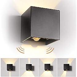 12W LED Apliques de Pared con Sensor de Movimiento Interior/exterior, modernas Lamparas de comedor, salon, Jardín con ángulo ajustable Diseño impermeable IP65 3000K Blanco Cálido (Negro)