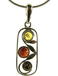 d68301dd34a9 Damen-Halskette mit Anhänger Bernstein 925 Sterlingsilber Länge 25cm, 30cm,  35cm, 40cm