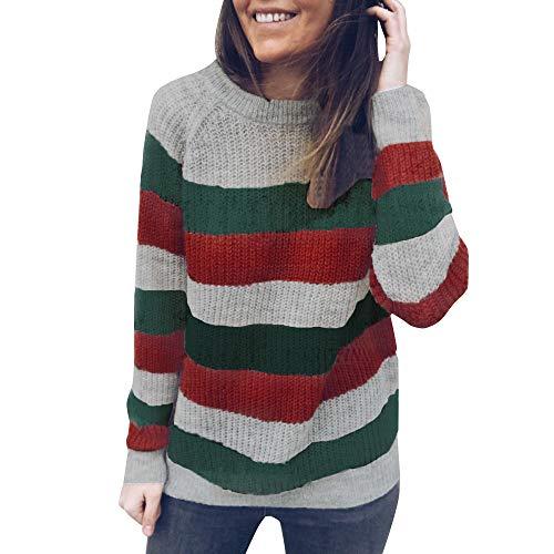 (MIRRAY Damen Baumwolle Acryl Rundhals Gestreifte Strickpullover Herbst Winter Pullover Pullover T-Shirt Tops)