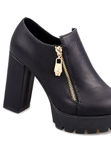 GS~LY Damen-High Heels-Lässig-PU-Blockabsatz-Absätze-Schwarz / Braun black-us6.5-7 / eu37 / uk4.5-5 / cn37