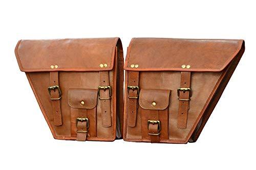 Craft Palace CP 2 X Rowdy Echt Leder Vintage Braun Motorrad Bike Satteltasche Fahrrad Tasche (Motorcycle Side Pou