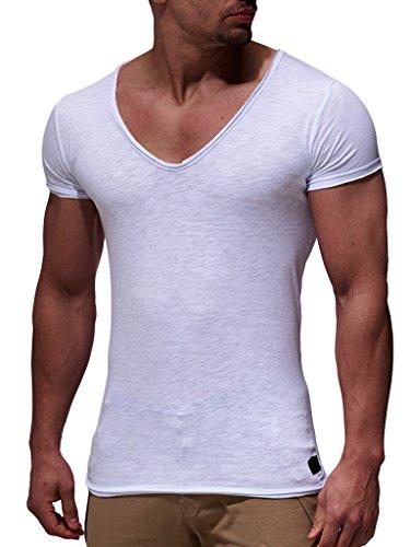 LEIF NELSON Herren Sommer T-Shirt V-Ausschnitt Slim Fit Baumwolle-Anteil | Moderner Männer T-Shirt V-Neck Hoodie-Sweatshirt Kurzarm lang | LN6280 Weiss XX-Large