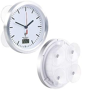 St. Leonhard Badezimmeruhr: Badezimmer-Funk-Wanduhr mit Thermometer & Saugnäpfen, Alu-Rahmen, IPX4 (Badezimmeruhr zum Aufhängen)