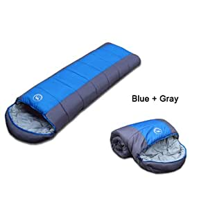 Sleeping Bag Camping Hiking Outdoor Travel Trek for Spring&Autumn (Blue)