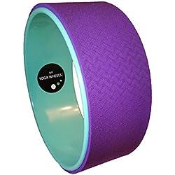 myyogawheels Verde & Morado–Rueda de equilibrio para ejercicios de Yoga Stretch Prop–Rodillo de masaje para espalda de Pilates de inversión Physio hombro masaje