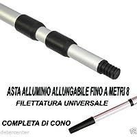 ASTA MANICO ALLUMINIO METRI MT 8 ALLUNGABILE TELESCOPICO ATTACCO A VITE E CONO