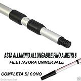 Deter Center Asta Manico Alluminio Metri MT 8 ALLUNGABILE TELESCOPICO Attacco A Vite E Cono