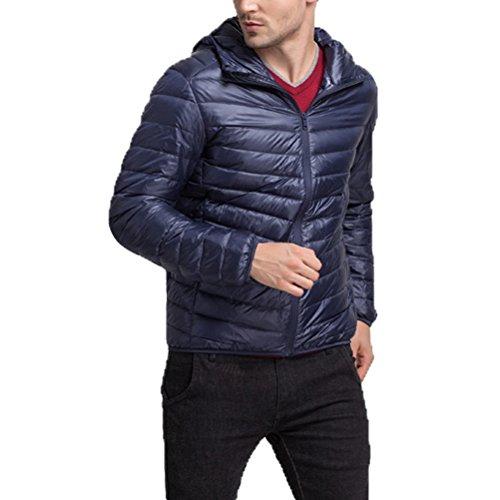 Linyuan Mode Mens Winter Lightweight Down Jacket Warm Outwear Hooded Jacket Dark Blue
