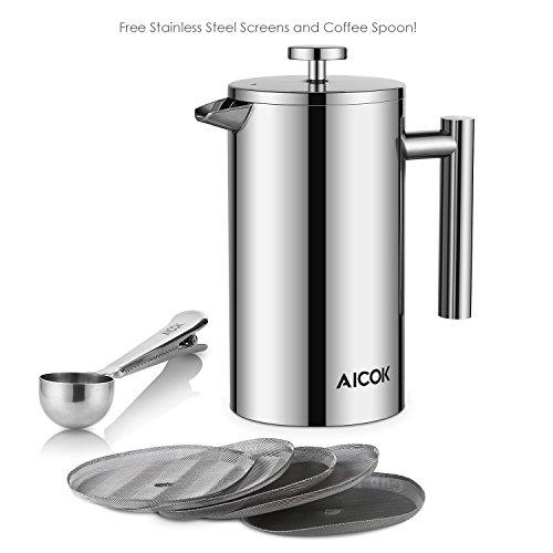 Aicok Kaffeebereiter mit Edelstahlfilter, Kaffeekanne, French Press System mit Zweilagiger Edelstahl Konstruktion – 1L - 9