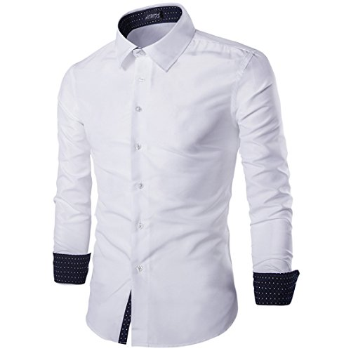 Men's British Style Solid Color Point Collar Long Sleeves Dress Shirts white