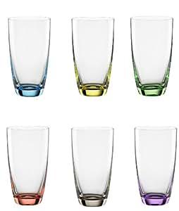 "Bohemia Cristal 093 006 051 Longdrinkbecher ca. 350 ml aus Kristallglas 6er Set ""Viva Colori"""