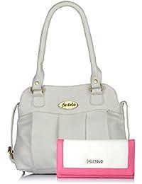 Fostelo Women's Combo Handbag & Clutch (White & White) (FSB-1119-FC-24)