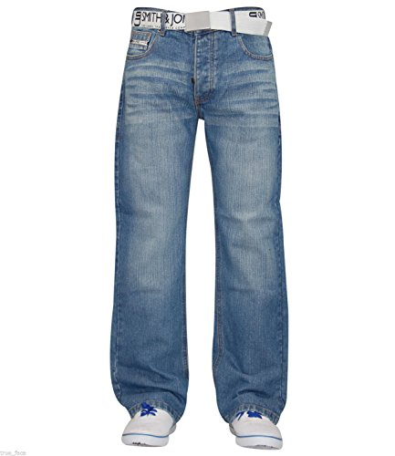 New Mens Designer Smith & Jones Jeans Free Belt Denim Regular Straight Cut Pants Light Wash