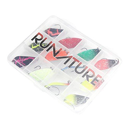RUNATURE 12pcs 3g Mini Trout Spoon Spinner Fischer Meerforellen Blinker zum Angeln Spoons Spinners Set Forelle Forellen Barsch Köder Kit