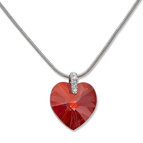Tillberg Swarovski-Stein Halskette rot Damen Kette edle Damen Halsketten Schmuck mit Swarovski Steinen besetzt RED MAGMA 4829
