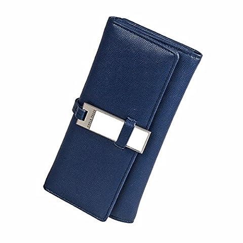 Fency Women's Mirror PU Leather Wallets Long Tri-fold Normcore Lady Purse Clutch (Lapis Blue)