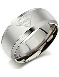 GirlZ! Stainless Steel Superman Ring - Ring for Men - Silver