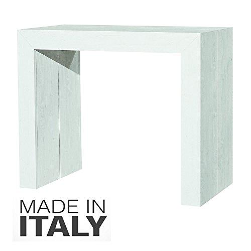 ARREDinITALY - Tavolo Consolle Allungabile Finitura Bianco Shabby da 90�45 cm. allungabile Fino a 295 cm. Diventa Un Comodo Tavolo per 12 Persone - Made in Italy