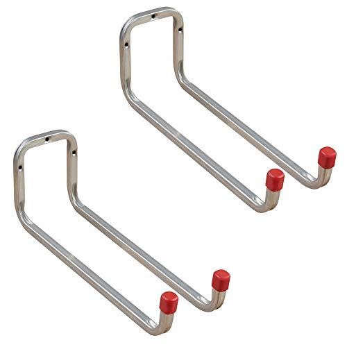 Gedotec Gerätehalter Metall Leiterhaken Wand-Haken Garage - DUO | Stahl verzinkt | Doppel-Haken mit Tiefe: 325 mm | Ordnungshaken zum Schrauben für die Wand-Montage | 2 Stück - Universalhaken 2-fach