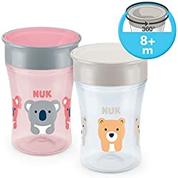 NUK Magic Cup 360° Tasse d'Apprentissage Koala/Ours Rebord Antifuite 360° sans BPA à partir de 8 Mois 230 ml 2 Unité