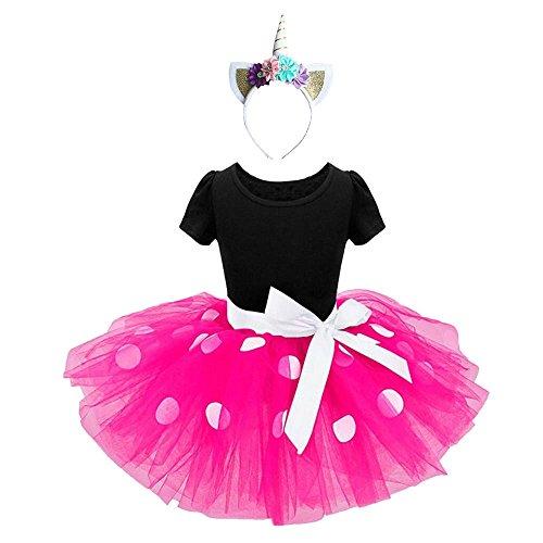 Ragazze abiti vestito costume da minnie dress principessa balletto tutu danza body ginnastica polka dots cerchietto con orecchie per carnevale festa di compleanno abito (rosa caldo, 12-18 mesi)