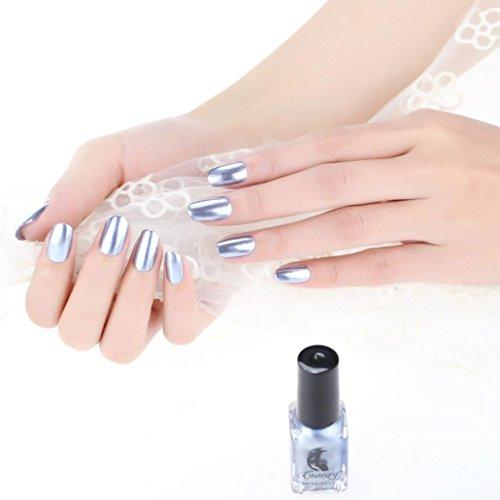 Vernis à ongles multicolore,Covermason Miroir Vernis à ongles argent Coller le miroir en acier inoxydable en mousse en métal Vernis à ongles en argent pour l'art des ongles (A)