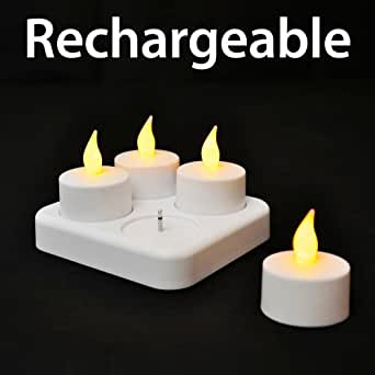 Set of 4 - Rechargeable Flickering LED Flameless Tea Light Candles