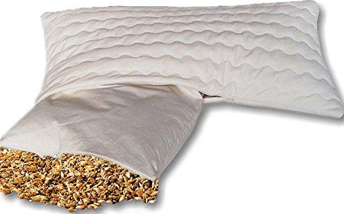 Natur-shop24 Bio Dinkelkissen Komfort 40 * 60 cm Dinkelkopfkissen Dinkelspelzkissen mit abnehmbarem waschbarem Komfortbezug aus Baumwolle mit Reissverschluss