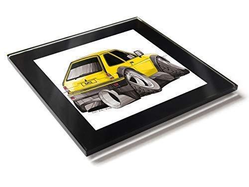 Koolart Karton Auto Ford Fiesta XR2 Mark 2 Glas Tisch Untersetzer mit Geschenkverpackung - Gelb, 10cm x 10cm -