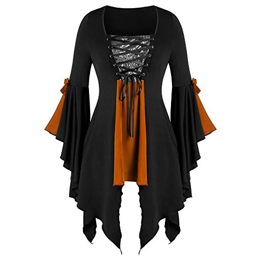 Tutu Kostüm Grün Teen M&m - Aiserkly Damen Plus Size Gothic Tunika T Langarmshirts Pailletten Schnürbluse Hexenkostüm Cosplay Karneval Fasching Bluse Mittelalter T-Shirt Kleid Orange 5XL