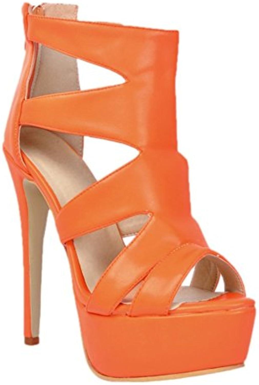 Kolnoo Femmes Fashion Handmade 14cm Peep talons Toe plateforme à talons Peep hauts sexy sandales de partie Chaussures Orange 802a4d