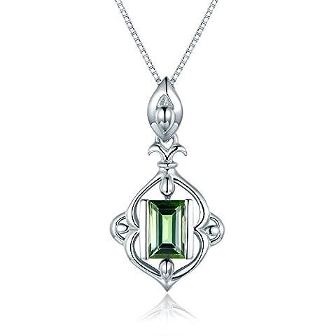 JiangXin Luxueux Princesse Tourmaline verte naturelle Pendentif Collier Argent 925 Bijoux fins pour