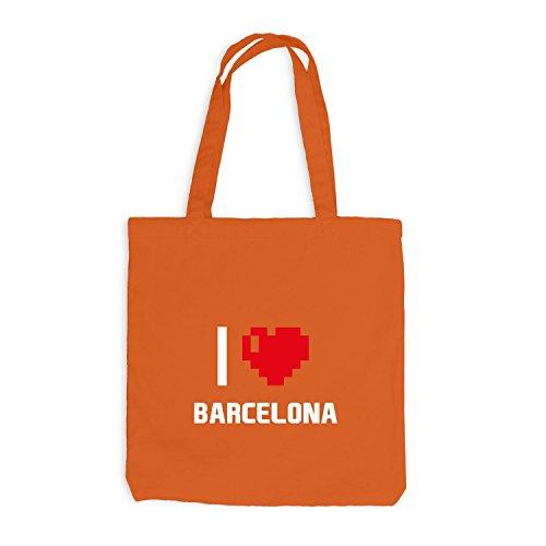 Jutebeutel - I Love Barcelona - Spanien Reisen Herz Heart Pixel Orange