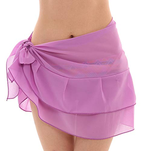 Strandrock Pareos Badeanzug Frauen Chiffon Sonnencreme Schal Strand Bikini Bademode Wrap Coverup Rock Multi Color(Lila,Free) -