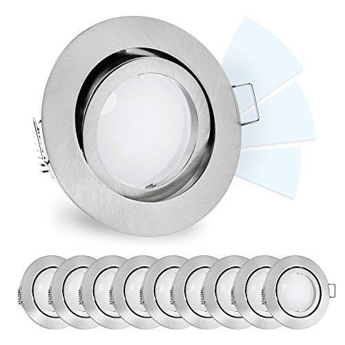 10 Stück linovum® fourSTEP Einbaustrahler LED schwenkbar dimmbar ohne Dimmer - LED GU10 5W neutralweiß - Spot rund gebürstet - Durchmesser Decken-beleuchtung