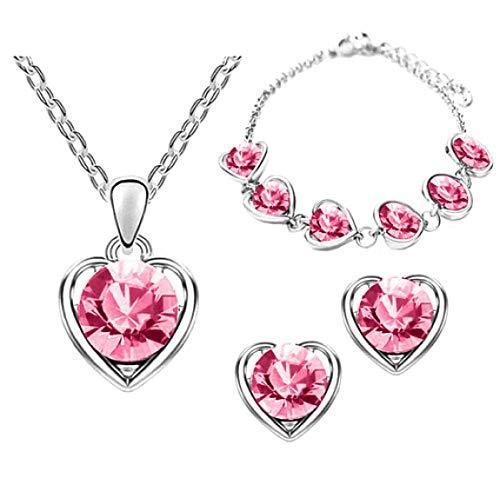 Piersando Schmuck-Set 3-teilig Armband Halskette Kette und Ohrringe Silber mit Swarovski Elements in Herz Form Pink