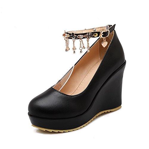 AllhqFashion Femme à Talon Haut Matière Souple Mosaïque Boucle Rond Chaussures Légeres Noir