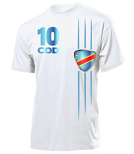 Demokratische Republik Kongo Fanshirt Fan Shirt Tshirt Fanartikel Artikel 5481 Fussball Männer Herren T-Shirts Weiss L -