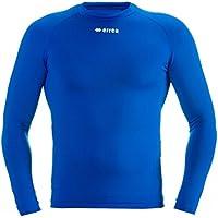 ERMES Funktionsshirt mit geringer Kompression (langarm) ideal zum Training beim Fußball, Running, Football, Rugby, Hockey u.v.m. · UNISEX Damen & Herren Unterziehshirt (Kompressionsshirt) aus Polyester-Stoff für Individual- & Teamsport von Erreà (blau, L/XL)