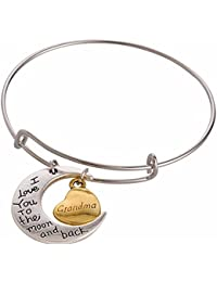 "Cadeau pour maman : ""I LOVE YOU TO THE MOON AND BACK bicolore Bracelet Breloque Cœur"