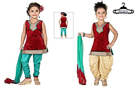 Baby Girl Salwar Suit New Born Infant Frock Suit Churidar Dress Wedding Prom Partywear Top Shirt+Leggings Toddler Ethnic Traditional Dupatta Suit - MEHROON, GREEN & BEIGE - 0-6 months (BGWC-510A_MEH)