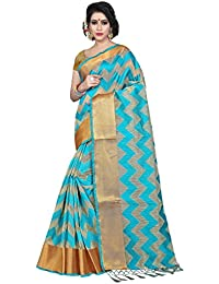 Silk Zone Women's Green Tassar Silk Saree With Blouse Piece (SZM00074_Green_Biege_Free Size)