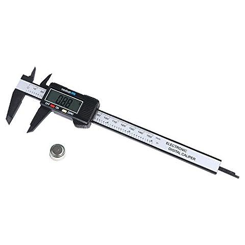 Portable 150mm 15,2cm LCD électronique numérique en fibre de carbone Jauge de pied à coulisse Micromètre de mesure