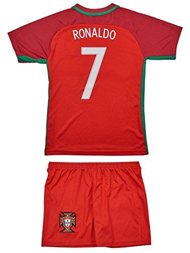 Portugal #7 Ronaldo Euro 16 Heim Kinder Trikot und Hose und langen Socken mit langen oder kurzen Ärmeln (Kurzarm, 140) (Kinder-uniform Hose)